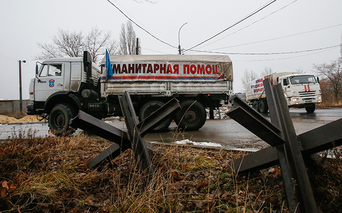 A Russian convoy of trucks carrying humanitarian aid for Ukraine in Donetsk region (Reuters / Maxim Shemetov)