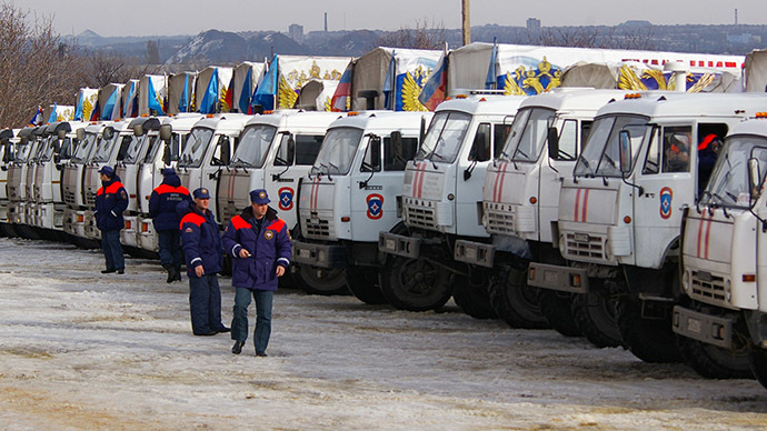 Trucks of the 12th Donbas humanitarian convoy organized by the Russian Emergency Ministry have arrived in Donbas. (RIA Novosti/Mikhail Parhomenko)