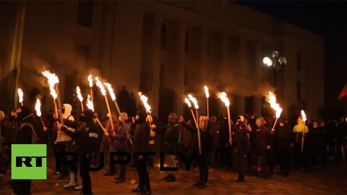 Nationalists stage torch-lit rally in Ukrainian capital (VIDEO)
