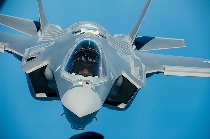 F-35A front profile in flight. (Image from Wikipedia by defenseimagery.mil)