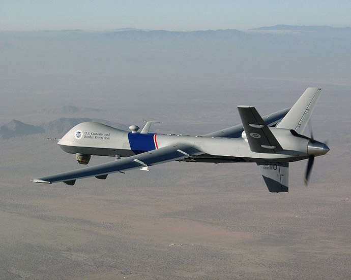 MQ-9 Reaper drone. (Image from Wikidepia by cbp.gov)