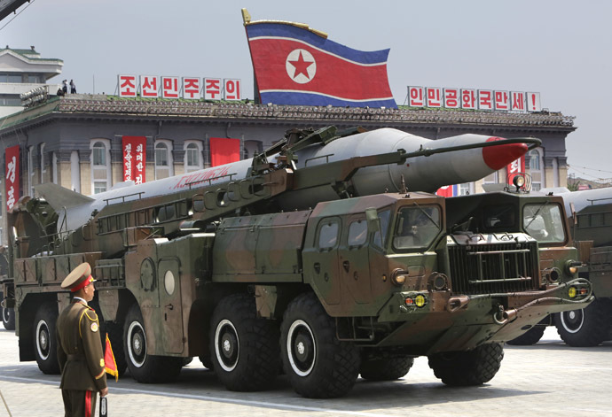 A missile is carried by a military vehicle during a parade to commemorate the 60th anniversary of the signing of a truce in the 1950-1953 Korean War, at Kim Il-sung Square in Pyongyang July 27, 2013. (Reuters/Jason Lee)