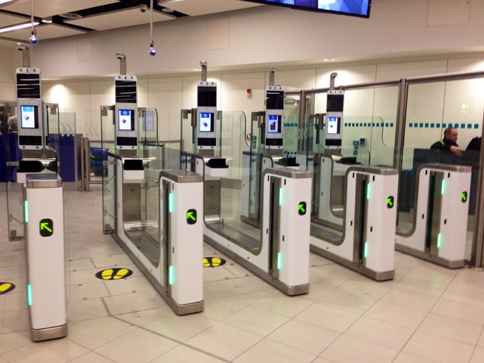 Vision-Box eGates (Automated Border Control) in Gatwick South terminal. (Photo from Wikipedia.org)