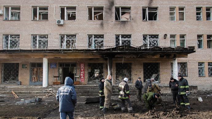 A clinic damaged in Donetsk shelling. (RIA Novosti/Dan Levy)