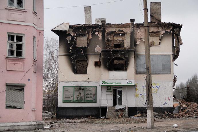 A building destroyed during bombardment in Uglegorsk, eastern Ukraine. (RIA Novosti)