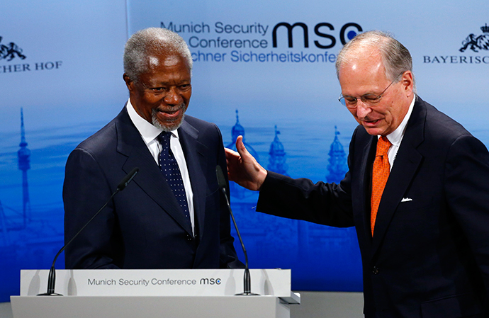 Former UN Secretary General Kofi Anan at the 51st Munich Security Conference at the 'Bayerischer Hof' hotel in Munich February 8, 2015. (Reuters / Michael Dalder)