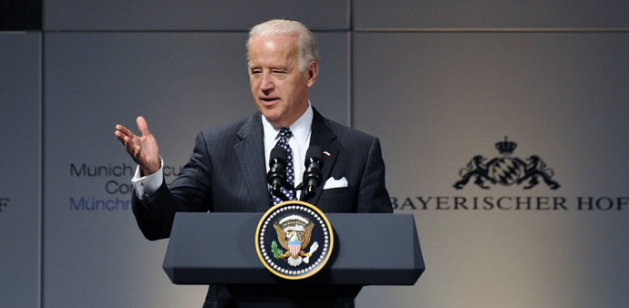 US Vice-President Joe Biden adddresses the Munich Security Conference, in Munich, southern Germany on February 7, 2009. (AFP Photo)