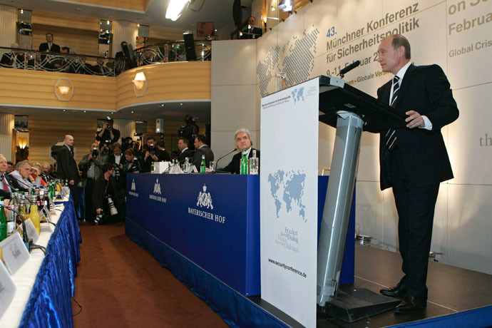Russian President Vladimir Putin addressing the 43rd Munich Conference on Security Policy held at the Bayerischer Hof Hotel October 2, 2007.
