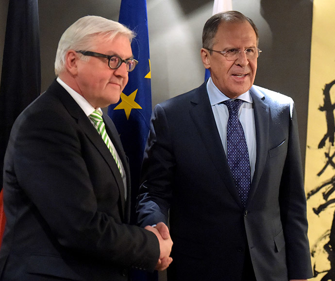 German Foreign Minister Frank-Walter Steinmeier and Russian Foreign Minister Sergey Lavrov at the 51st Munich Security Conference on February 7, 2015. (RIA Novosti/Flickr MFA Russia)