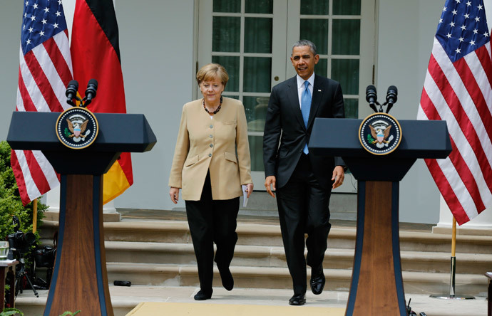 U.S. President Barack Obama and German Chancellor Angela Merkel (Reuters / Larry Downing)