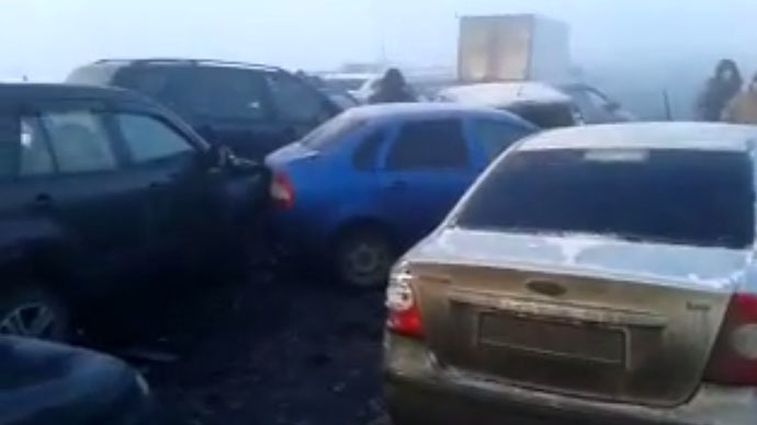 100 cars in massive pile-up on foggy Russian road (VIDEO)