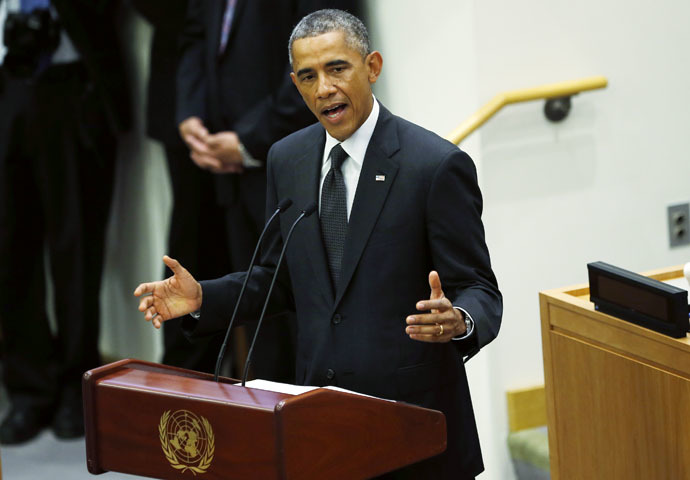 U.S. President Barack Obama speaks at the United Nations meeting in New York September 25, 2014. (Reuters/Kevin Lamarque)