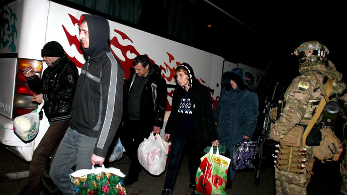 "Prisoners of war who returned to the Donetsk People's Republic after the ""all-for-all"" prisoner exchange between the Donetsk People's Republic's people's militia and Ukrainian special forces, on December 26, near Konstantinovka, Donetsk suburb.(RIA Novosti / Igor Maslov)"