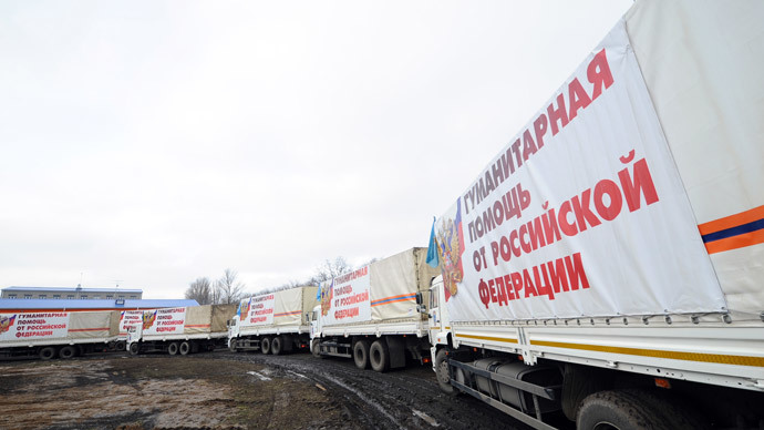 A column of trucks with a Russian humanitarian aid during the formation of a thirteenth humanitarian convoy for Donbas in the settlement of Kovalevka in the Rostov Region.(RIA Novosti / Sergey Pivovarov)