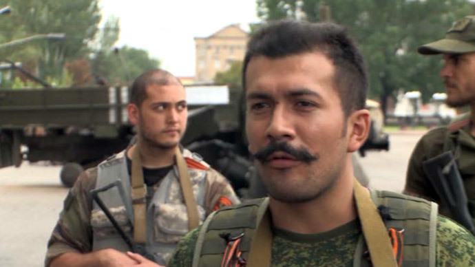 Victor Lenfa, commander of a French volunteer team fighting for the rebels in Eastern Ukraine.(Screenshot from RT video)
