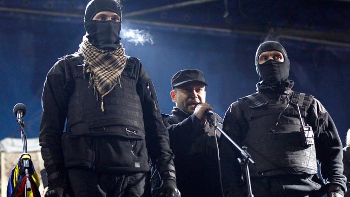 Right Sector's leader Dmitry Yarosh (center).(Reuters / David Mdzinarishvili)
