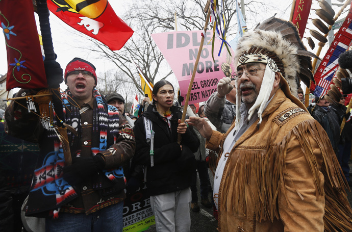 ARCHIVE PHOTO: First Nations protesters march towards Parliament Hill in Ottawa January 11, 2013. (Reuters / Chris Wattie)