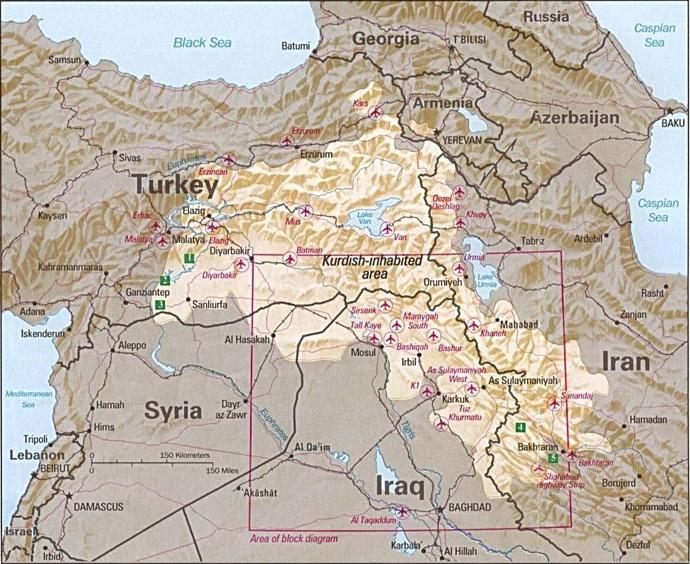 Kurdish-inhabited area, by CIA. (Image from Wikipedia)