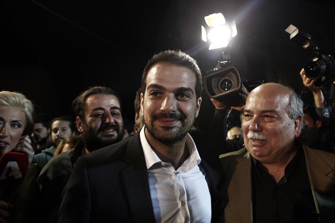 Radical leftist Syriza party candidate for the Athens' mayorship Gabriel Sakellaridis (C). (Reuters/Alkis Konstantinidis)