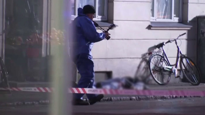 Still from APTN video shows man shot by police in Copenhagen on February 15, 2015. The man is suspected of attacking a synagogue and a free speech debate a few hours earlier.