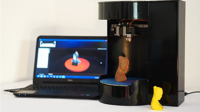 compact rotary 3D printer-cum-scanner
