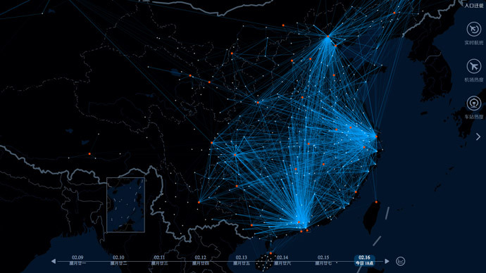 ​Long march: Chinese search engine uses heat map to chart massive New Year migration