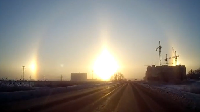 3 suns in the sky: Chelyabinsk witnesses rare halo effect (PHOTOS, VIDEO)
