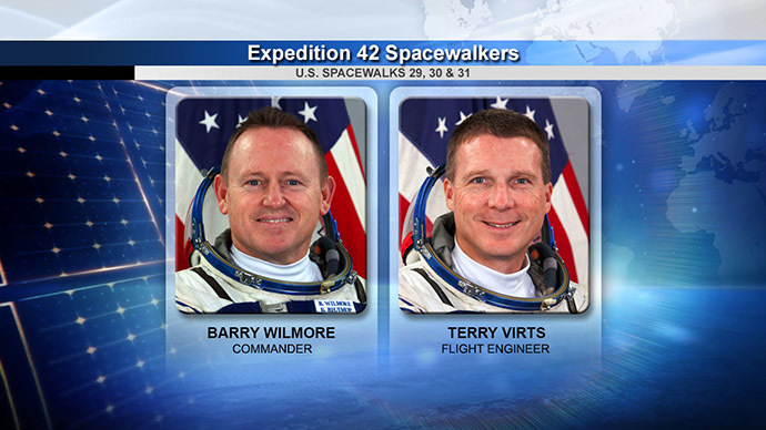 Spacewalkers Barry Wilmore and Terry Virts (Image Credit: NASA TV)