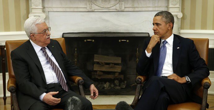 U.S. President Barack Obama and Palestinian Authority President Mahmoud Abbas (Reuters/Kevin Lamarque)