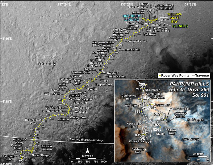 The route driven by Curiosity through to Day (sol) 901 of the rover's mission (February, 18, 2015). Image from www.nasa.gov