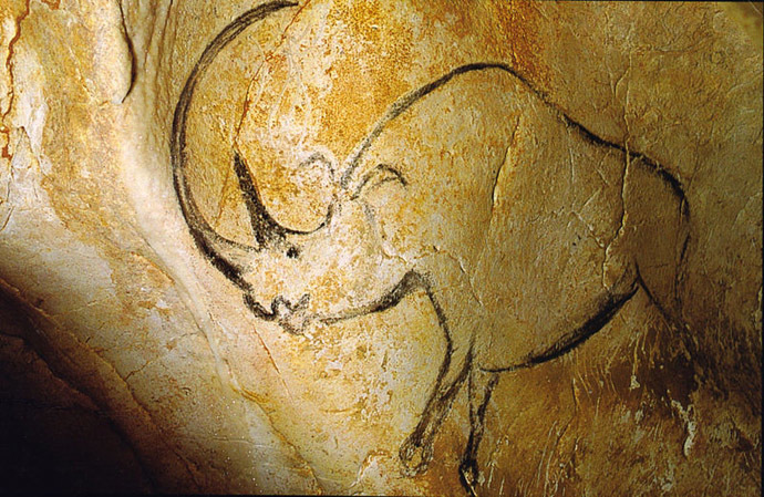 Chauvet cave art depicting a woolly rhino, France (Image from Wikidepia)