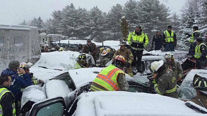 Dozens of cars crash in snowy pileup on Maine interstate (VIDEO, PHOTOS)