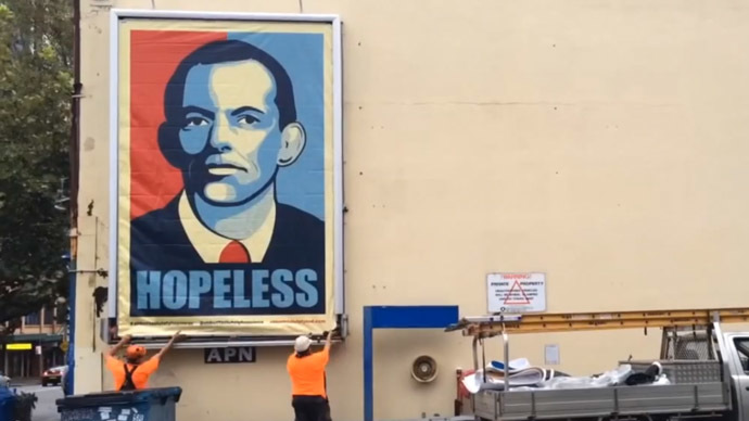 'Hopeless': Angry Aussie activists slam PM Abbott with Obama-style poster