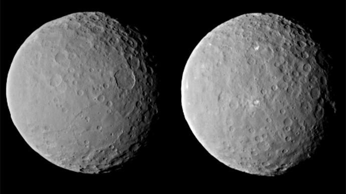Estas imagens de planeta anão Ceres, processado para aumentar a clareza, foram tiradas em 19 de fevereiro de 2015, junto a uma distância de cerca de 29.000 milhas (46.000 km), por sonda Dawn da NASA (Imagem de nasa.gov)