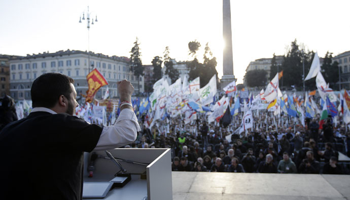 Northern League party leader Matteo Salvini speaks on stage during a rally downtown Rome, February 28, 2015. (Reuters/Max Rossi)