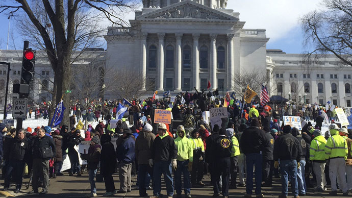 'I am not a terrorist': Wisconsin workers come out in force after Gov. Walker's ISIS jibe
