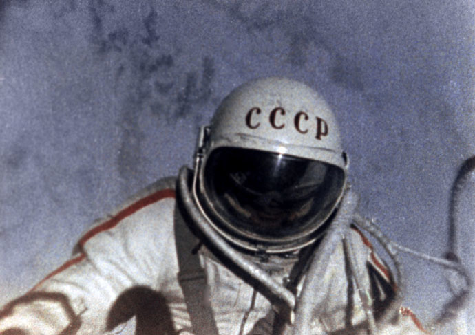 Soviet cosmonaut Alexei Leonov in outer space. A 1965 photo. (RIA Novosti)