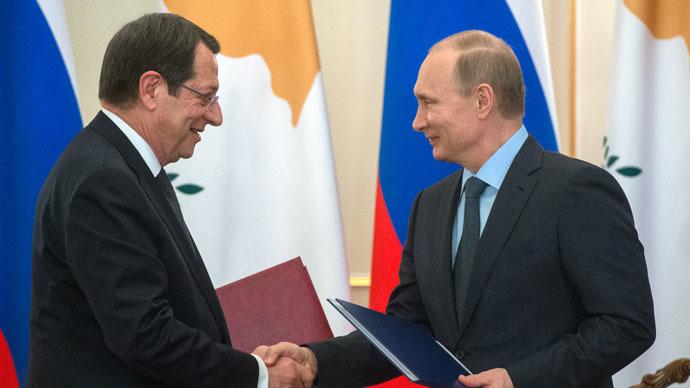 February 25, 2015. Russian President Vladimir Putin, right, and Cypriot President Nicos Anastasiades. (RIA Novosti/Sergey Guneev)