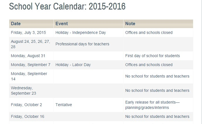 Montgomery County Public Schools will close on September 23, but do not give a reason. Yom Kippur and Eid al-Adha both fall on that day. (Screenshot from MCPS website)