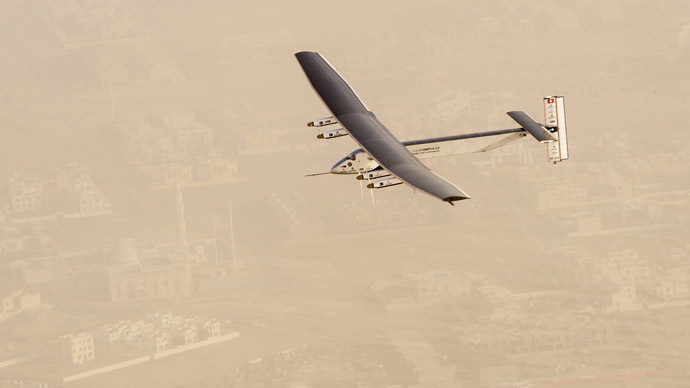 A view of the Solar Impulse 2 on flight after taking off from Al Bateen Airport in United Arab Emirates, in this handout picture provided to Reuters, courtesy of Jean Revillard, on March 9, 2015. (Reuters/Jean Revillard)