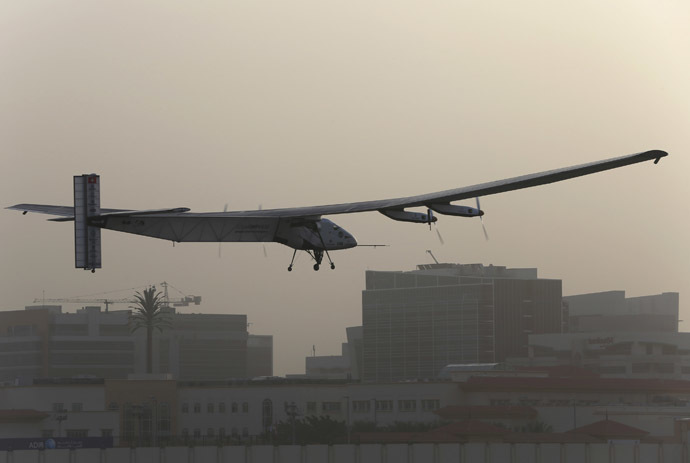 The Solar Impulse 2 takes off at Al Bateen airport in Abu Dhabi March 9, 2015. (Reuters/Ahmed Jadallah)