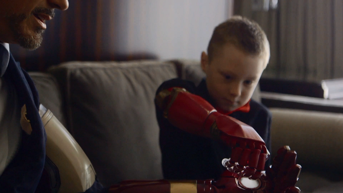 Real-life superhero: 'Iron Man' presents kid with new bionic arm