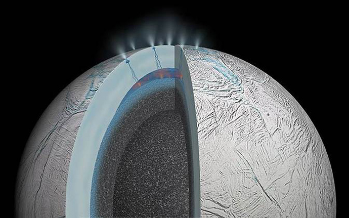 This cutaway view of Saturn's moon Enceladus is an artist's rendering that depicts possible hydrothermal activity that may be taking place on and under the seafloor of the moon's subsurface ocean, based on recently published results from NASA's Cassini mission.(Image Credit: NASA / JPL)