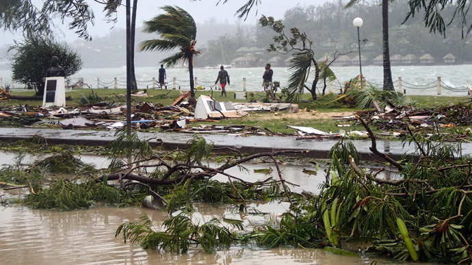 Scattered debris along the coast, caused by Cyclone Pam, in the Vanuatu capital of Port Vila.(AFP Photo / Inga Mepham)