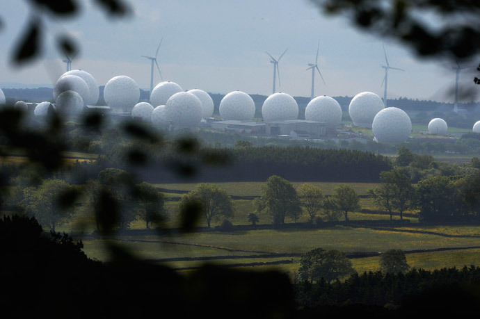 RAF Menwith Hill base, which provides communications and intelligence support services to the United Kingdom and the U.S., is pictured near Harrogate, northern England (Reuters / Nigel Roddis)