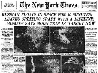 Image result for first person to walk in space in 1965 newspaper articles