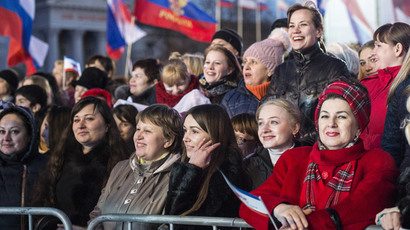 Spectators at a concert during celebrations of the first anniversary of the Crimean Spring in Simferopol. (RIA Novosti / Evgeny Biyatov)