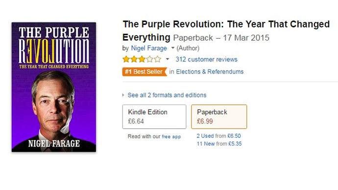 Mixed reviews! UKIP Farage's new book mercilessly trolled on Amazon