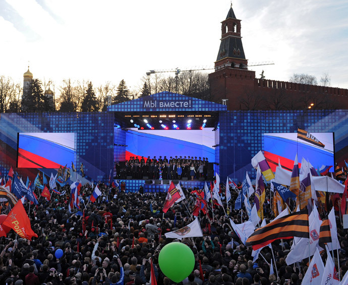 Russian President Vladimir Putin speaks at the rally and concert We Are Together staged at Vasilyevsky Slope to mark the first anniversary of Crimea's reunification with Russia, March 18, 2015. (RIA Novosti / Michael Klimentyev)