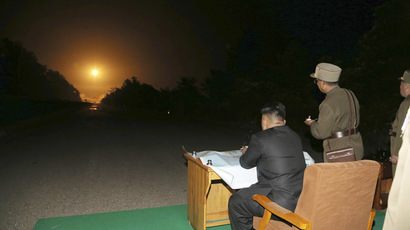 North Korean leader Kim Jong Un provides field guidance during a tactical rocket firing drill carried out by units of the Korean People's Army (KPA). (Reuters / KCNA)